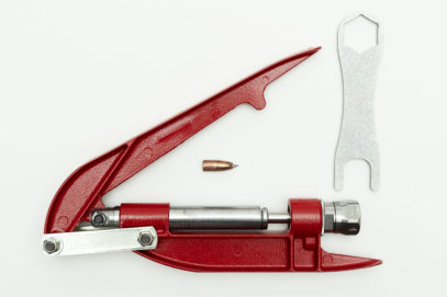 Bullet Sizer with a 40 caliber bullet and wrench