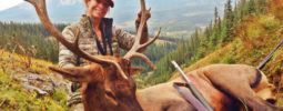 "Prois Hunting employee Katherine Grand with her second bull and first animal taken with a muzzleloader. ""I could not pass on this beautiful bull standing broadside at 50 yards after an epic stalk. My goals this year were to shoot a bigger bull than my first, take a good kill shot with my Knight Ultra-Light .50 Cal Muzzleloader, push myself harder and go farther than I had before. I am happy to say I accomplished these goals and noticed a huge difference physically after all the training and running I've been doing. I am so grateful for the meat in the freezer that will feed our family all year, and the incredible hunt I shared with my husband. Prois was there!!"